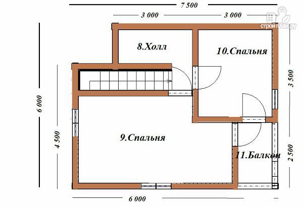 Фото 10: проект дом из бруса 6х7.5 с крыльцом и балконом