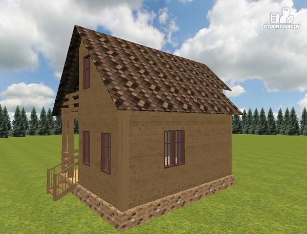 Фото 5: проект дом из бруса 6х7.5 с крыльцом и балконом