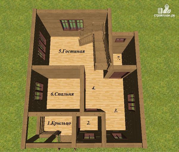 Фото 9: проект дом из бруса 6х7.5 с крыльцом и балконом