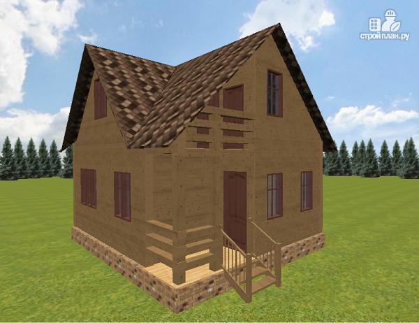 Фото 2: проект дом из бруса 6х7.5 с крыльцом и балконом
