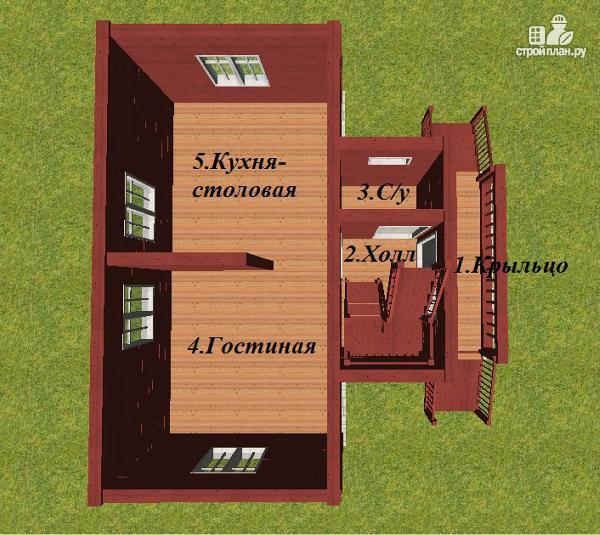 Фото 9: проект дом из бруса 6х8 Т-образный