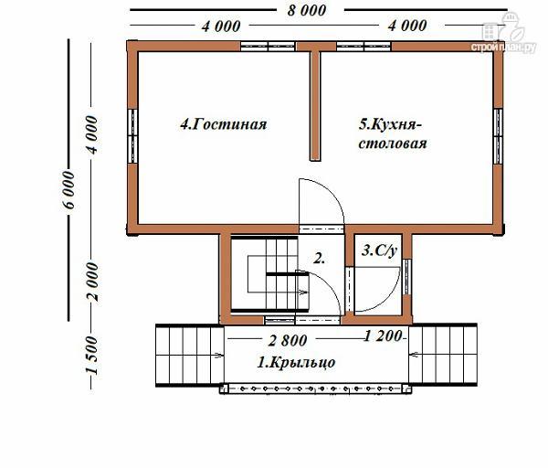 Фото 8: проект дом из бруса 6х8 Т-образный