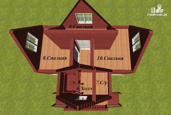 Фото 11: проект дом из бруса 6х8 Т-образный