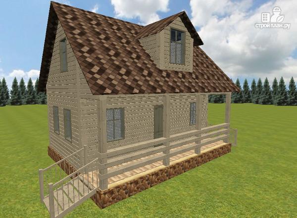 Фото: проект дом из бруса 6х8 с террасой