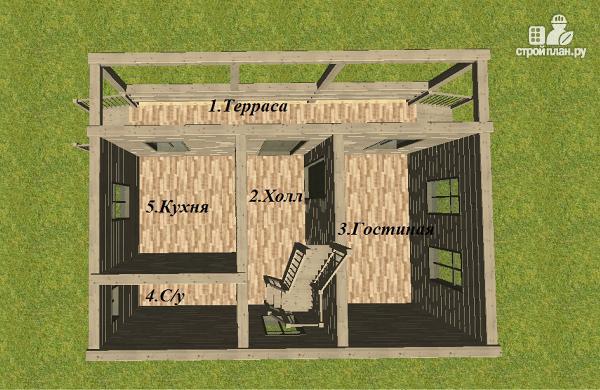 Фото 8: проект дом из бруса 6х8 с террасой