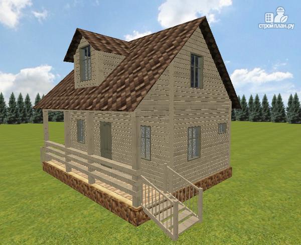Фото 4: проект дом из бруса 6х8 с террасой