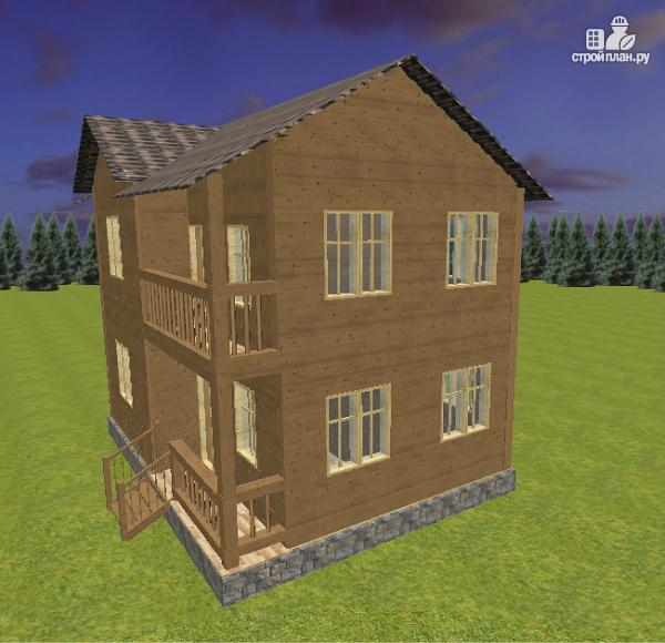 Фото 4: проект двухэтажный дом из бруса с террасой и балконом, размер 6х8