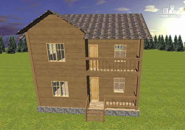 Фото 2: проект двухэтажный дом из бруса с террасой и балконом, размер 6х8