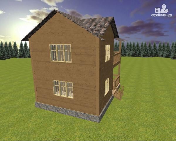 Фото 6: проект двухэтажный дом из бруса с террасой и балконом, размер 6х8
