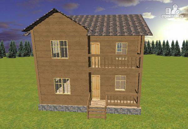 Фото 3: проект двухэтажный дом из бруса с террасой и балконом, размер 6х8