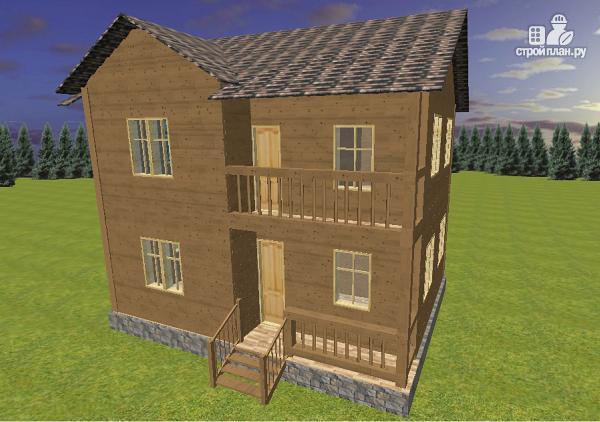 Фото: проект двухэтажный дом из бруса с террасой и балконом, размер 6х8