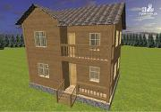 Фото: двухэтажный дом из бруса с террасой и балконом, размер 6х8