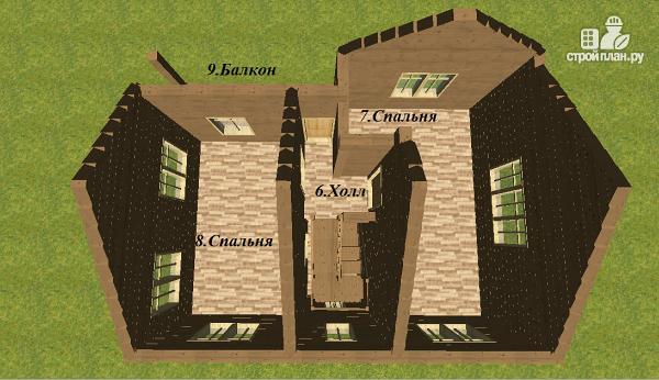 Фото 10: проект двухэтажный дом из бруса с террасой и балконом, размер 6х8