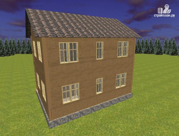 Фото 5: проект двухэтажный дом из бруса с террасой и балконом, размер 6х8