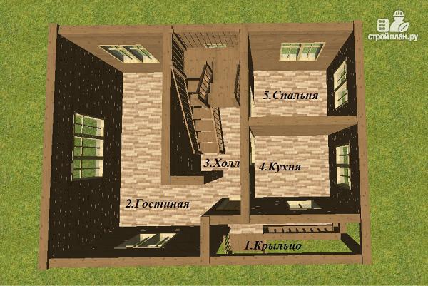 Фото 8: проект двухэтажный дом из бруса с террасой и балконом, размер 6х8