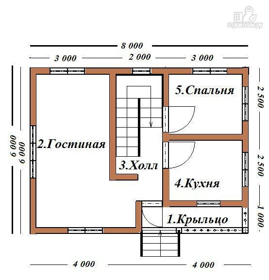 Фото 7: проект двухэтажный дом из бруса с террасой и балконом, размер 6х8