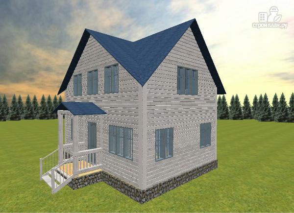 Фото 4: проект дом из бруса 6х8 с тремя фронтонами