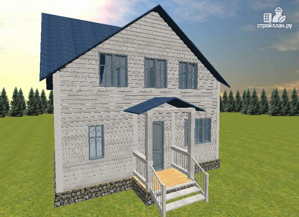 Фото 3: проект дом из бруса 6х8 с тремя фронтонами