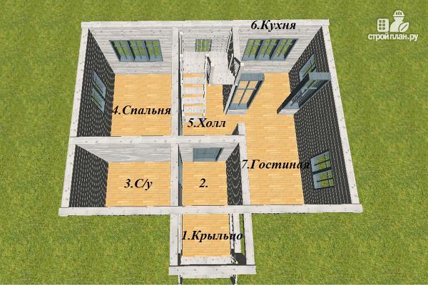 Фото 8: проект дом из бруса 6х8 с тремя фронтонами