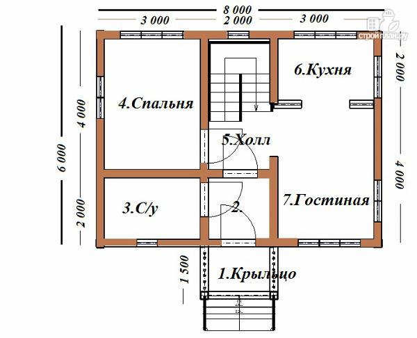 Фото 7: проект дом из бруса 6х8 с тремя фронтонами