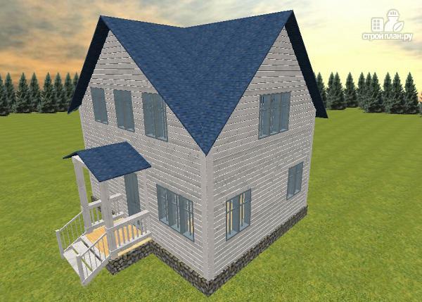 Фото: проект дом из бруса 6х8 с тремя фронтонами