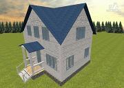 Фото: дом из бруса 6х8 с тремя фронтонами