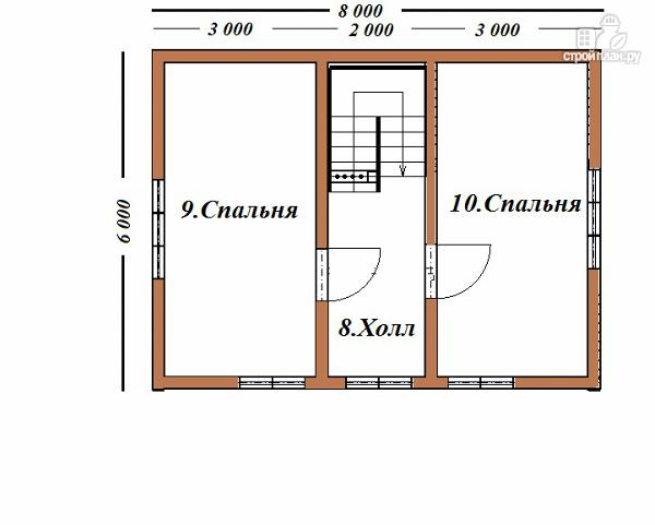 Фото 9: проект дом из бруса 6х8 с тремя фронтонами