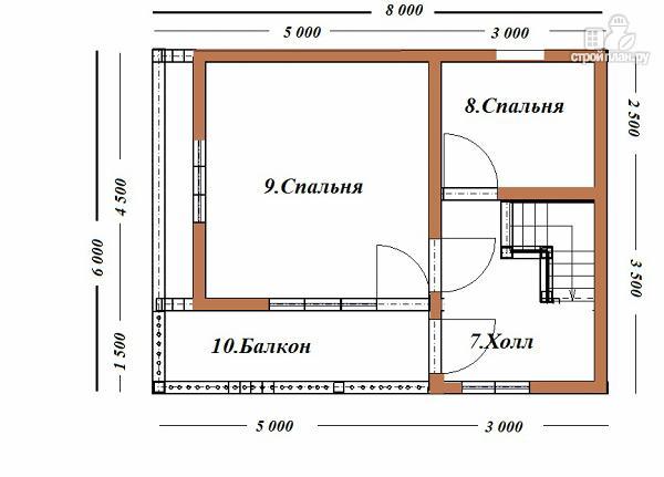 Фото 10: проект дом из бруса  6х8 с балконом