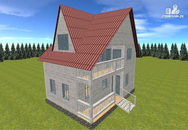 Фото 3: проект дом из бруса  6х8 с балконом