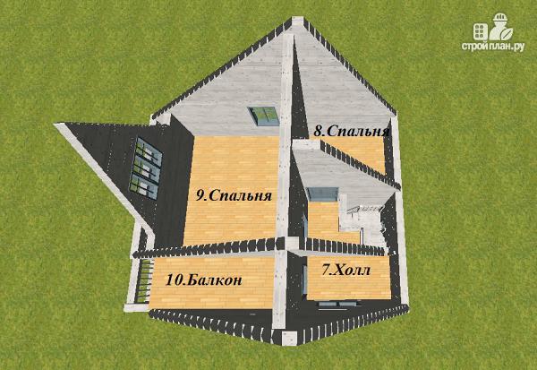 Фото 11: проект дом из бруса  6х8 с балконом