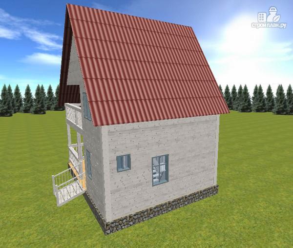 Дом из бруса 6х8 с балконом, проект лотос.