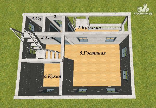 Фото 9: проект дом из бруса  6х8 с балконом