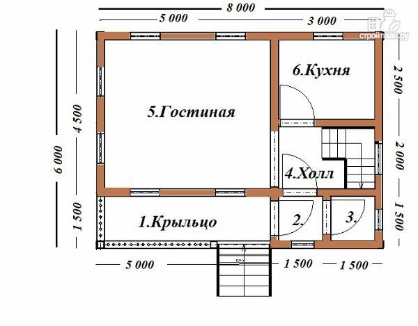 Фото 8: проект дом из бруса  6х8 с балконом