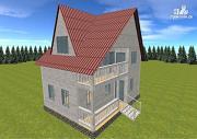 Проект дом из бруса  6х8 с балконом