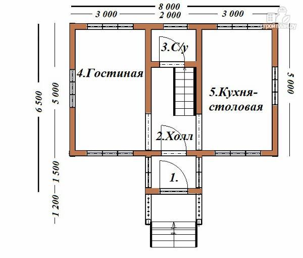 Фото 8: проект двухэтажный дом из бруса 6х8