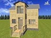Фото: двухэтажный дом из бруса 6х8