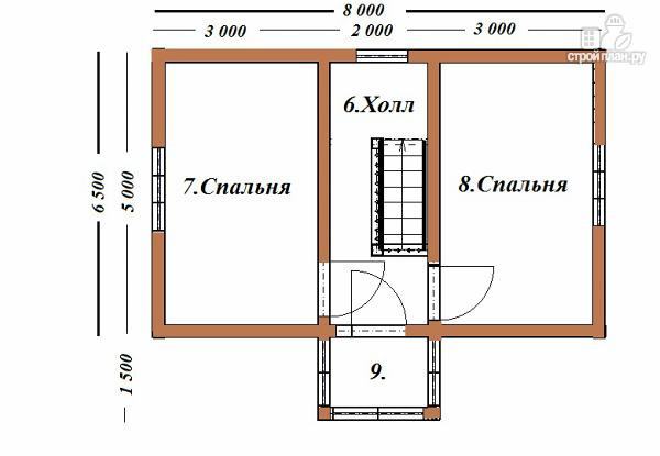 Фото 10: проект двухэтажный дом из бруса 6х8