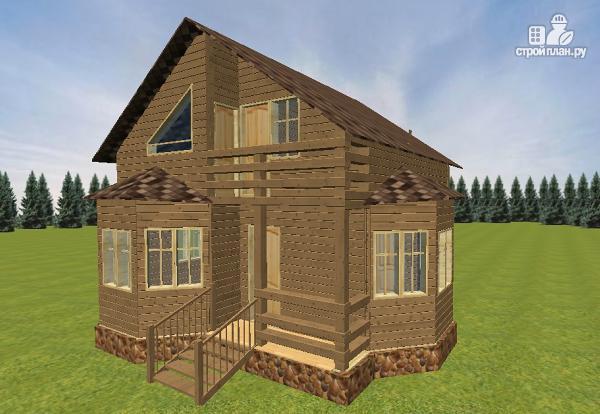 Фото 3: проект дом из бруса с эркерами 7х7
