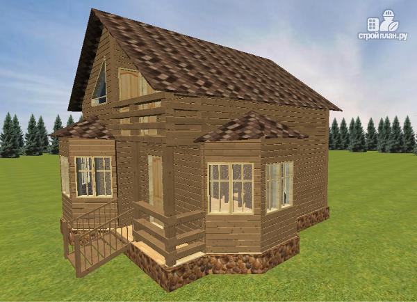 Фото 4: проект дом из бруса с эркерами 7х7