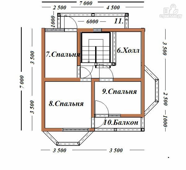 Фото 11: проект дом из бруса с эркерами 7х7