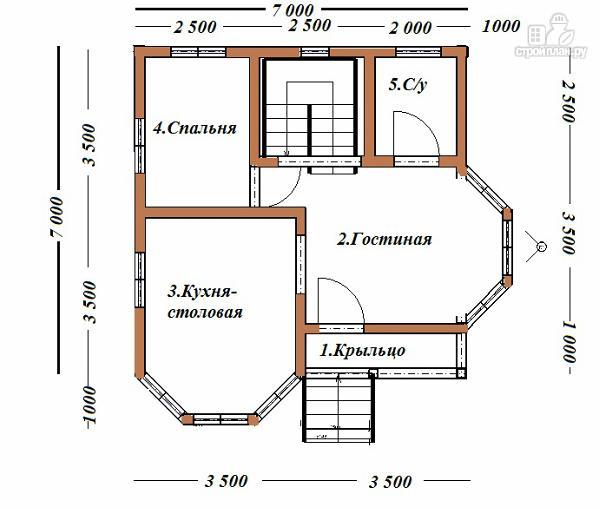 Фото 9: проект дом из бруса с эркерами 7х7