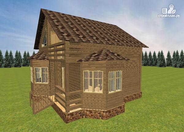 Фото 2: проект дом из бруса с эркерами 7х7