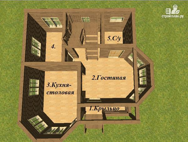 Фото 10: проект дом из бруса с эркерами 7х7