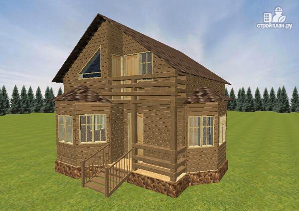 Фото: проект дом из бруса с эркерами 7х7