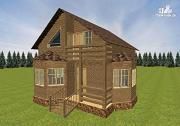 Проект дом из бруса с эркерами 7х7