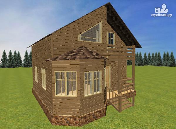 Фото 8: проект дом из бруса с эркерами 7х7