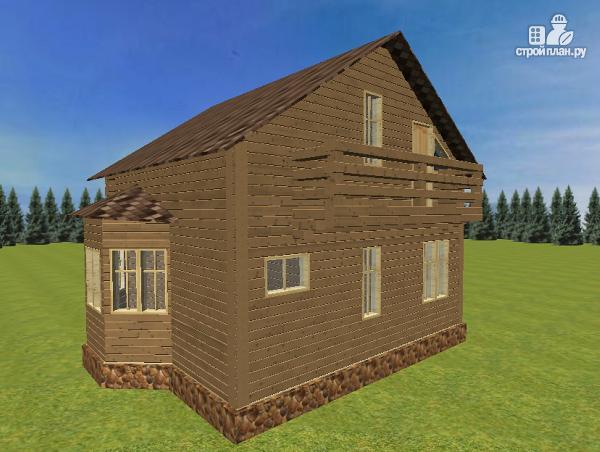 Фото 5: проект дом из бруса с эркерами 7х7