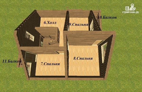 Фото 12: проект дом из бруса с эркерами 7х7