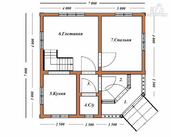 Фото 7: проект дом из бруса 7х7, с балконом