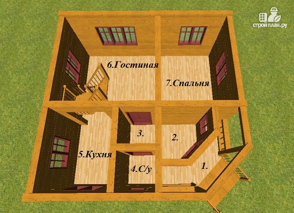 Фото 8: проект дом из бруса 7х7, с балконом